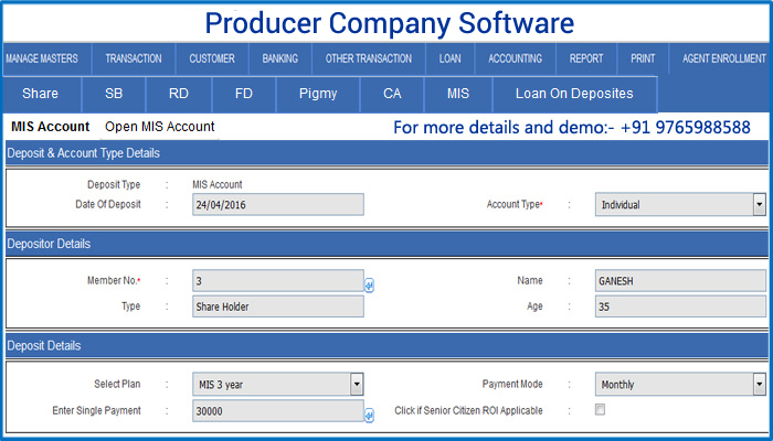 Producer company Software, Producer company Software Demo